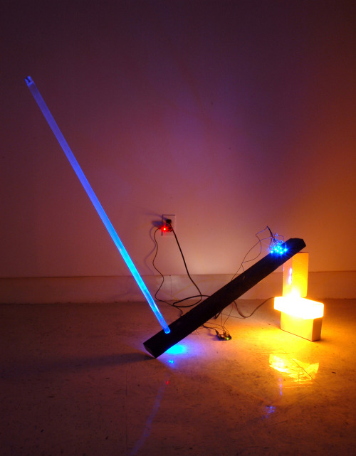 David Gallagher: Neo Directional Night Light, 2011, Translucent Cast Porcelain, Digital Processor, LEDs, Acrylic Rod, Wood