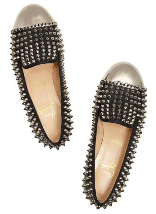what-do-i-wear:  CHRISTIAN LOUBOUTIN, Glitz studded leather loafers