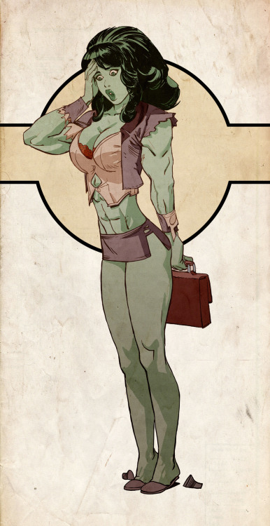 [ a homage to Adam Hughes' She-Hulk Comiquette figure, She-Hulk is pressing her hand to her forehead, back straight, and looking utterly surprised, clutching her briefcase behind her. her suit's torn and shredded. ]  — joel27