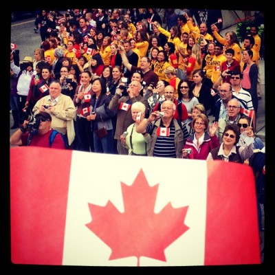This is what #Canadian #pride feels like  @CDNOlympicTeam @SamsungCanada #cdnolympicparade #Toronto #Canada #Olympic #Heroes  (Taken with Instagram)