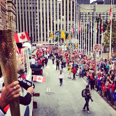@SamsungCanada #cdnolympicparade heading down #Bay #Street today #Toronto  (Taken with Instagram)
