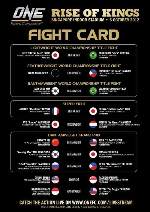 One FC 6: Rise of Kings Official Card It's like 2 weeks to the card. If they haven't found one yet, they're not finding a fight for Honorio Banario. Besides the title fights and Yusup-Belingon and maybe Manhoef-kawamura (depends which Manhoef shows up), a lot of mismatches. Pulver should be able to pick up a win though. That's good.