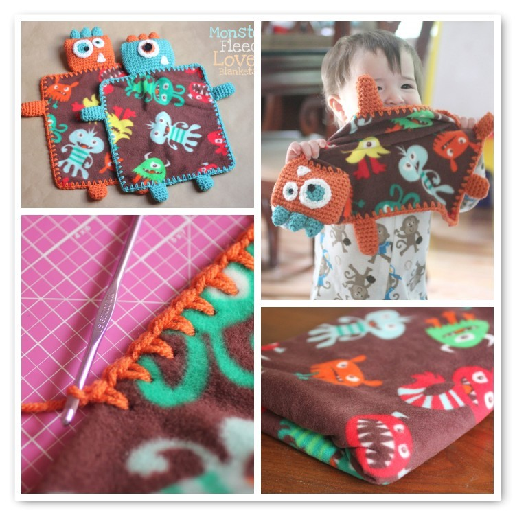 Monster Fleece Lovely Blankets Sarah from Repeat Crafter Me has come up with a brilliant gift idea!  Free pattern found via the link.  Love love love.
