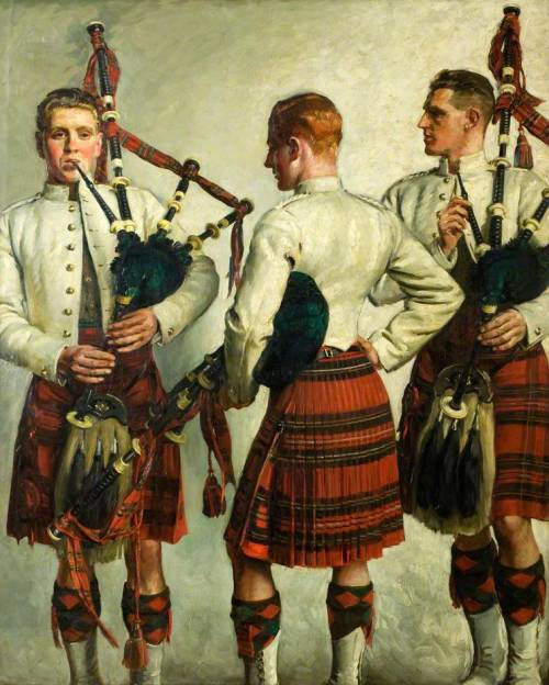 captain-finland:  William Bruce Ellis Ranken (British, 1881-1941), Pipe Practice, 1918. Oil on canvas, 182.9 x 142.2 cm. Dundee Art Galleries and Museums Collection.