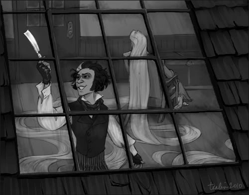 here-have-some-feels:  tealin:  Disney's Tangled and Tim Burton's Sweeney Todd are inextricably bound up with each other in my head, for complicated reasons.  EDGAR EDGAR LOOK I FOUND SOMETHING FOR YOU  OH GOODNESS