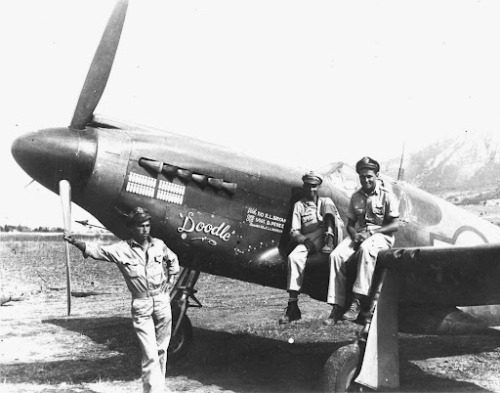Aircrew with a North American A-36 Apache (earlier attack version of the P-51 Mustang)