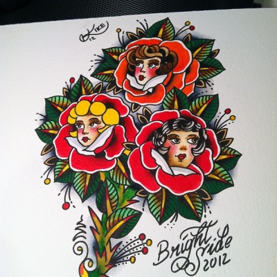 kikecastillotattoos:  Roses (Taken with Instagram at Brightside tattoo shop)