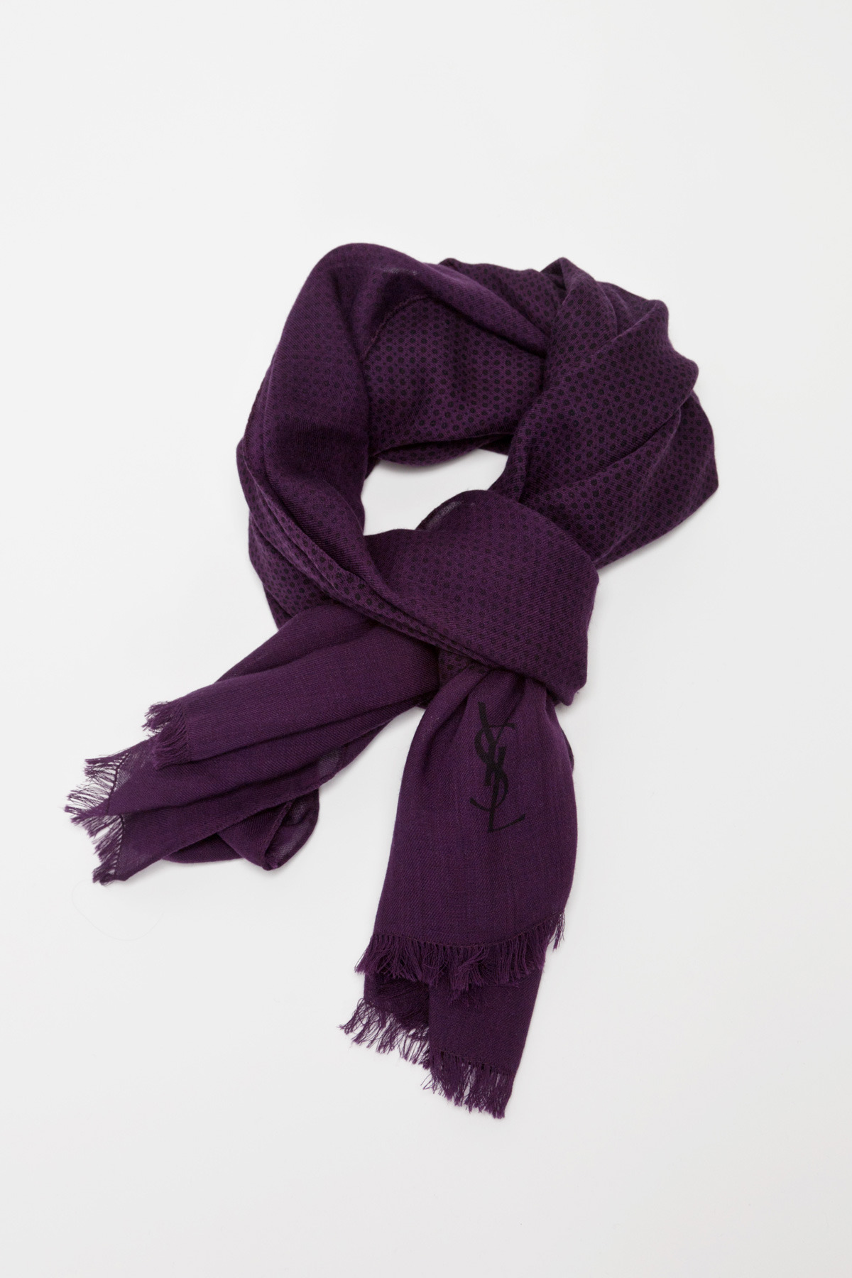 Yves Saint Laurent Purple Dots Scarf