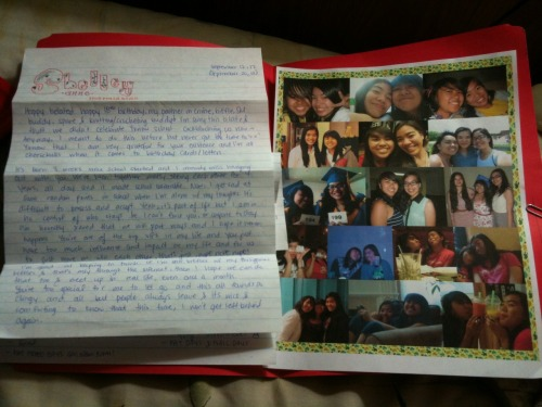 ";___; Birthday present from my dear biffle Stefuuny. I bawled so hard. But it was a good bawling! I swear! I was tearing up and then I read ""DO YOU FEEL THE FEELS?! :P"" and tears and feels were everywhere. THANK YOU SO MUCH!! ♥ *GLOMPUGGLES 5EVER*  Ps. Thank you for cutting someone out on the water bottle picture. Pss. I honestly don't remember when the top-middle picture was taken. o.<"