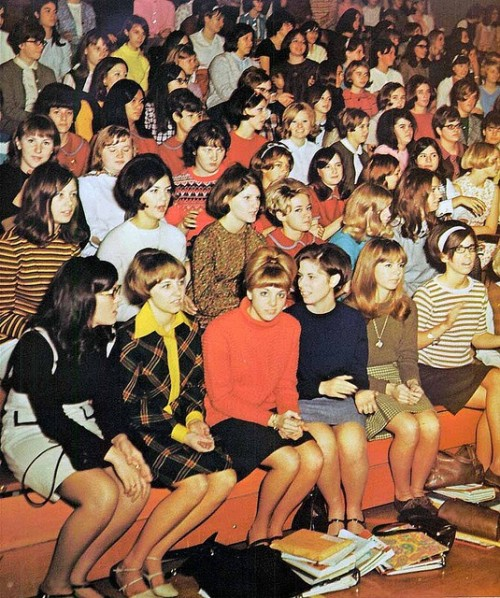sleepyflowers:  Girls at a 1968 High School assembly.