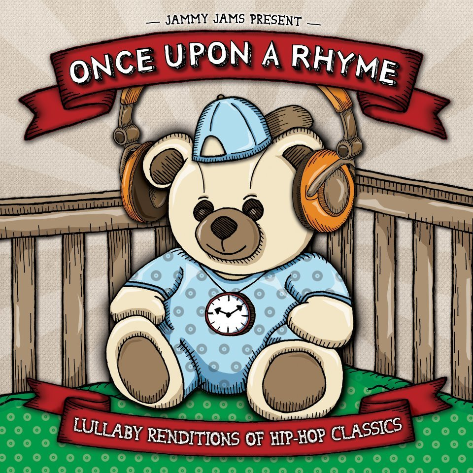 "Once Upon A Rhyme: Lullaby Renditions Of Hip-Hop Classics  On ""Once Upon A Rhyme: Lullaby Renditions Of Hip-Hop Classics"", Jammy Jams explores the melodies of old school hip-hop songs and brings them to life with calming renditions for parents to enjoy along with their babies. The parent can take a stroll down memory lane while creating brand new memories for baby. This album soothes the inner and outer soul. You will be amazed as you listen to soothing lullabies featuring the melodies of acclaimed old school hip-hop songs such as Run-D.M.C.'s ""Rock Box"" and Coolio's ""Gangstas's Paradise"". The soothing sounds are what Jammy Jams is all about. Experience these popular tunes in a whole new way with baby today. Tracklisting: 1. Hey Ya (originally by Outkast) 2. California Love (originally by 2Pac) 3.The Real Slim Shady (originally by Eminem) 4.Gangsta's Paradise (originally by Coolio) 5. Girls (originally by Beastie Boys) 6.Rock Box (originally by Run-D.M.C) 7.Summertime (originally by DJ Jazzy Jeff & The Fresh Prince) 8.Regulate (originally by Warren G) 9.Big Pimpin (originally by Jay-Z) 10. Nuthin' But A G Thang (originally by Dr. Dre)"