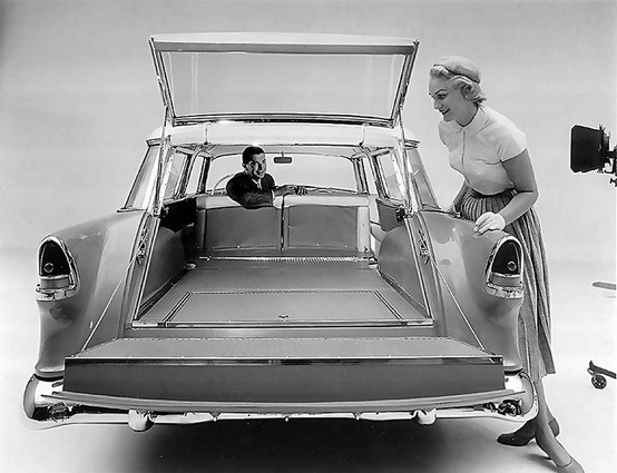 distinguishedcompany:  theniftyfifties: Demonstrating the new 1955 Chevy Nomad.