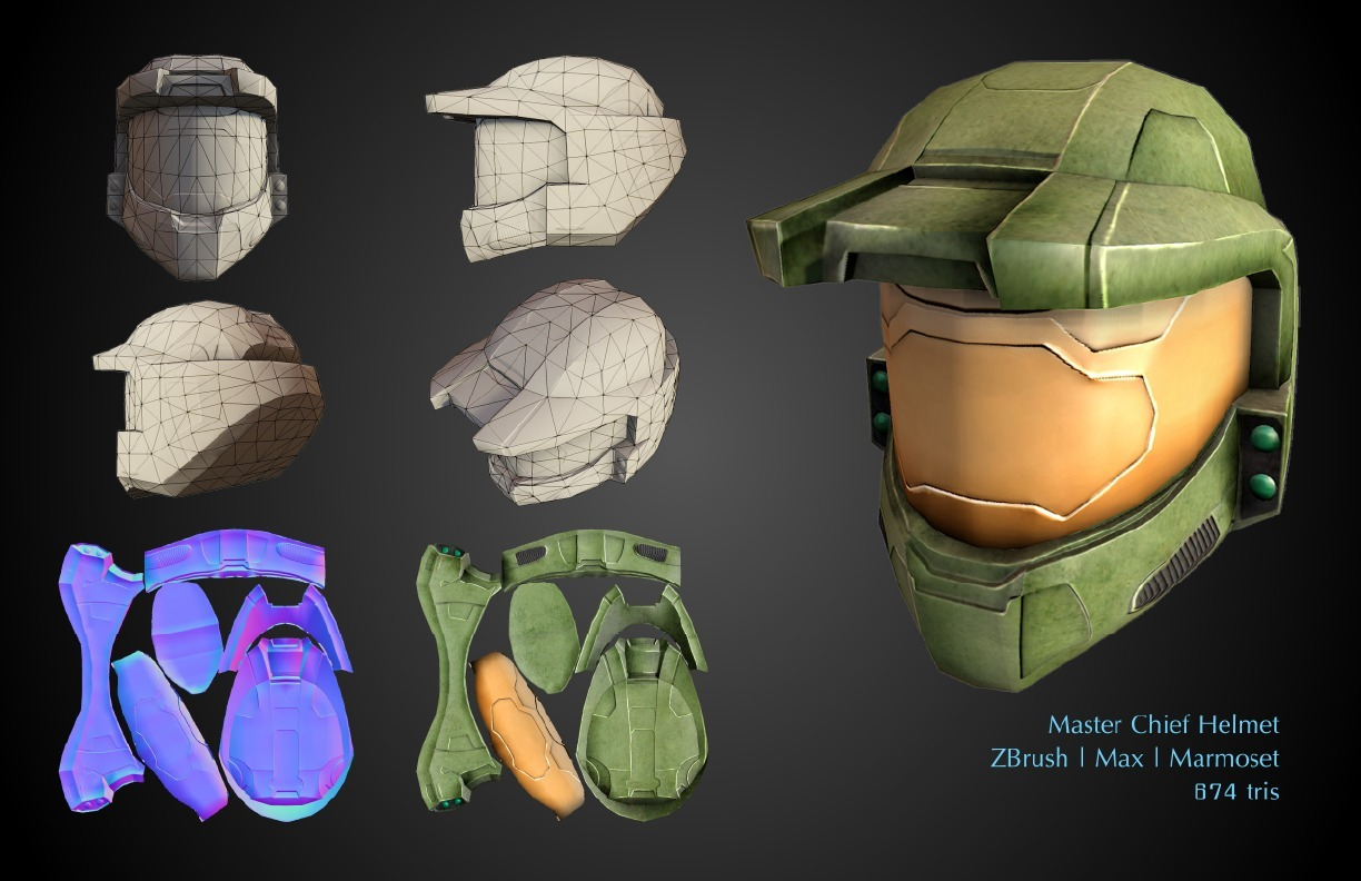 Master Chief helmet This was initially an assignment from my ZBrush instructor for me to learn how to model hard surfaces, but I ended up taking it a few steps further, and here's the final result! Modeled in ZBrush, unwrapped and mapped in 3DS Max and xNormal, and rendered in Marmoset.