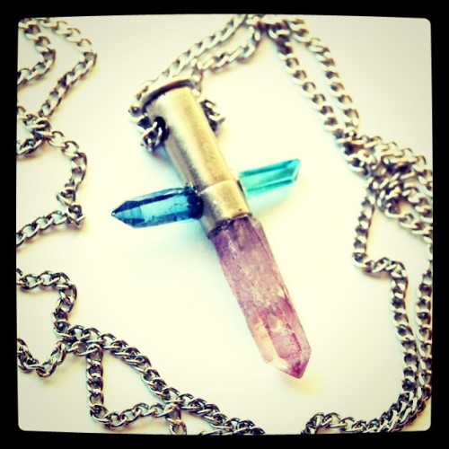 Aqua, Celestial & Rose aura crystal Cross necklace (Taken with Instagram)