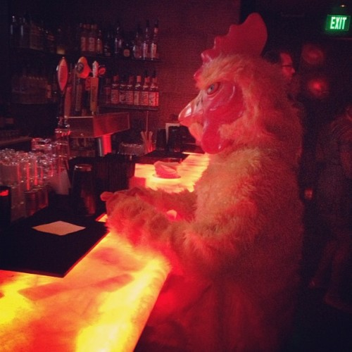 There's a chicken at the bar! Lol #mickys (Taken with Instagram)
