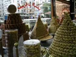 mideastfood:  Damascus sweet shop. May Damascus return to its prior glory under the golden Islamic age.