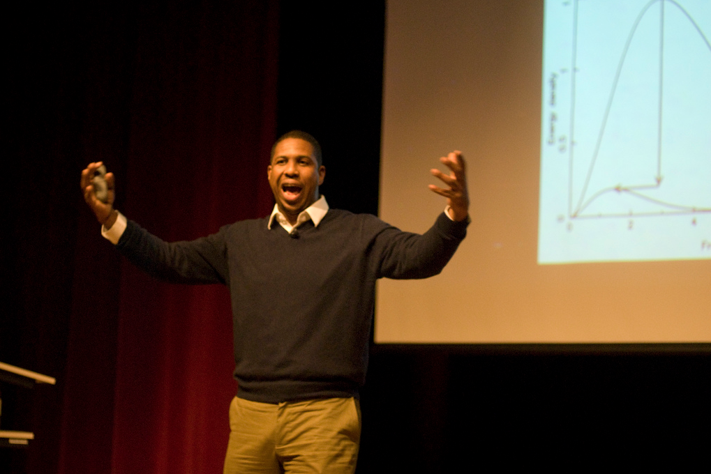 "Astrophysicist Hakeem Oluseyi lecturing about The Big Bang at a TED conference in 2010  ""You see, most whites never feel that Negroes can contribute anything to other areas of thought, and ideas. You just notice how rarely you will ever hear whites asking any Negroes what they think about the problem of world health, or the space race to land men on the moon.""  -Malcolm X"