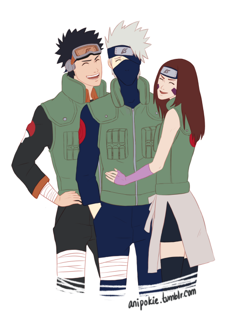 anipokie:  happy birthday, Kakashi 9/15/12  I have been so busy with school that I didn't even notice it had been Kakashi's birthday and even though I was a couple of days late, I still wanted to draw something, since he's one of my favorite characters from Naruto, if not my absolute favorite. but yeah, I love this trio, so I couldn't help drawing them all together as adults. I think they would've all been happy. :') Yeah, I know, I don't know why Kakashi would be covering his eye with his headband if Obito was alive, but I didn't feel like changing the lineart by the time I noticed it. Oopsies.  kakashi, obito, and rin belong to kishimoto