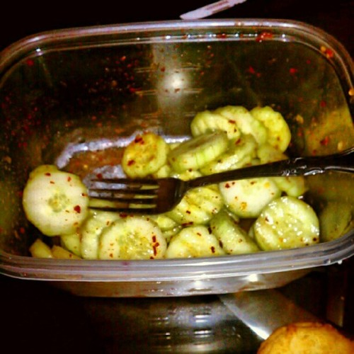 I'm on a #diet, again. This is my #dinner/#midnight #snack. :) #cucumber #salad. #Mien #food (Taken with Instagram)