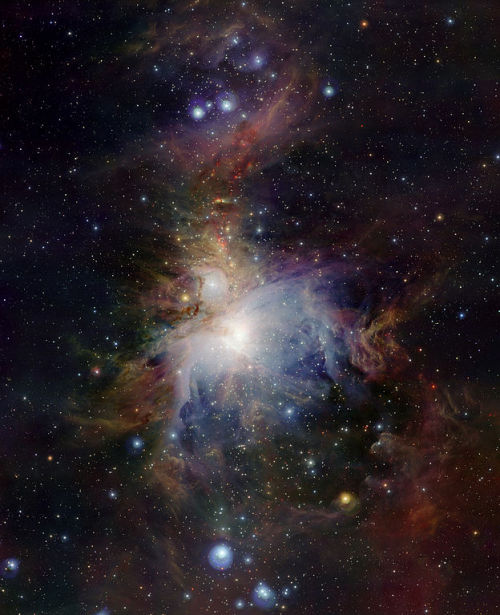 Lying about 1350 light-years from Earth, an image of the Orion Nebula (Messier 42).