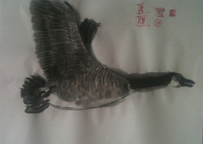 flying goose, ink wash on Japan paper 36x26cm, Sept/2012 @_blacha_ on Flickr.