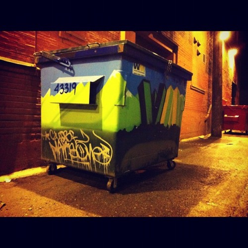 Smoking #weed in an alley and I noticed this #decorative  #dumpster. #britishcolumbia #bc #vancity #vancouver  (Taken with Instagram)