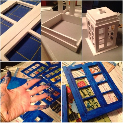 Making serious progress on the #TARDIS tonight! #doctorWho #diy #crafting (Taken with Instagram)