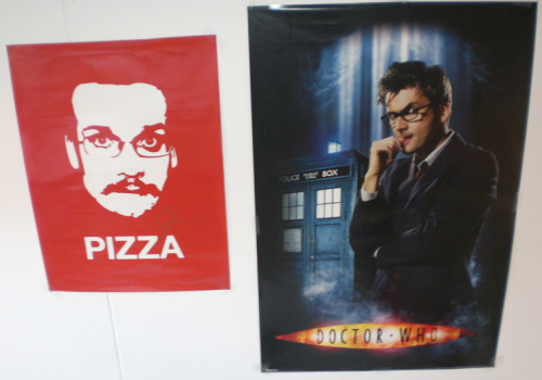 My Pizza John poster arrived! I now have two men in glasses staring creepily at me from my bedroom wall. I did not think this through.