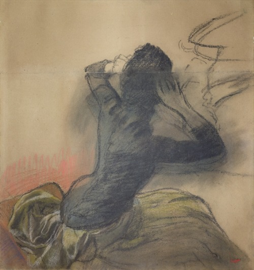 Degas, Seated Woman Adjusting Her Hair, c.1884, chalk & pastel on paper