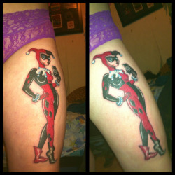 take-the-rope-to-myheart-andfall:  My Harley Quinn tattoo. It's hard to get a decent photo but you get the idea..