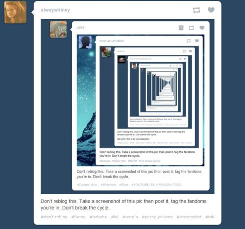 Don't reblog take a screen shot and post your fandoms