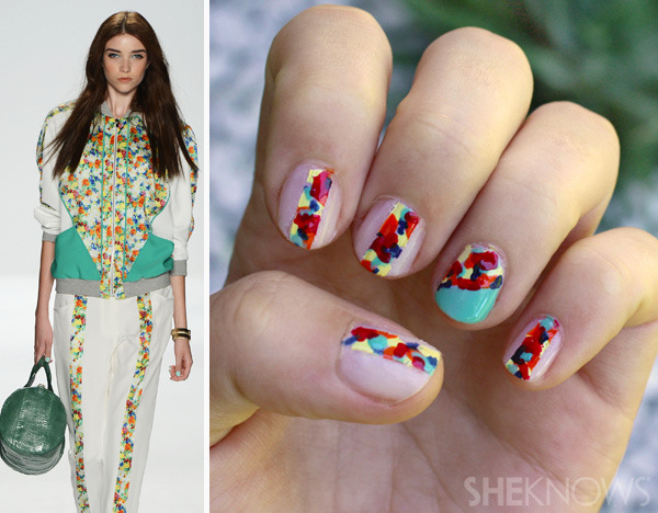 Rebecca Minkoff Inspired Nails | She Knows I love how some people can look at an outfit and think - hey, that would look great on my nails! So clever. These nails remind me of a modern stain glass window. If you don't have these colours, don't fret - just choose a few that you like combined, but keep in mind that more intense colours are easier to mix together.
