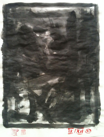 dark, ink wash on Japan paper 24x33cm, Sept/2012 @_blacha_ on Flickr.