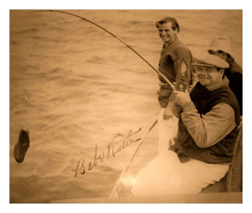 Babe's Big Catch O' The Day Babe Ruth having a laugh with the guys, catches a shoe (c.1930's).