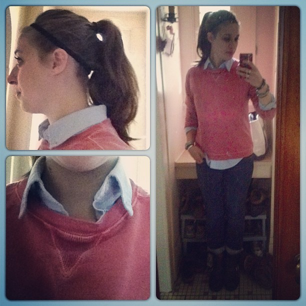 Rainy Saturday attire. Pinkish sweatshirt - #landsend #thrift, blue button up shirt - land's end thrift from yesterday, skinny jeans - #abercrombie, engineer 8r brown leather boots - #frye plus a high pony to finish it off.  (Taken with Instagram)