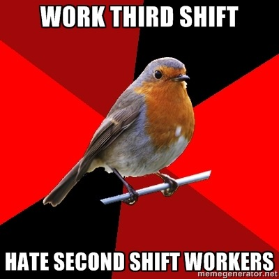"fuckyeahretailrobin:  Wal-Mart Retail Robin here! I work third shift! WHOOPIE! But fuckin' 2nd shift, man. ( I keep wanting to type ""second shit and actually that sounds more accurate.) These bumholes don't do ANY of their tasks which, surprise, end up being given to us along with our normal tasks! Yay! Fun times! Not.  Just last night they were supposed to stock and zone a few areas…Wasn't done. We had to do it. Carts all over the parking lot and the store? Yep. We had to do it. Breaks and strays/picks were crammed into shelves…In the wrong department! Regional Robin came to visit yesterday and he was NOT happy..Whoopsies.  I mean, come on guys, I know you hate your jobs and everything but so do we. We get our shit done. Please, just do your tasks.  Anyone else have problems with second shi(f)t in their store? Thanks, Second shi(f)t.  P.S. Had to work an hour and a half over.  (Sorry you guys had to read my been-up-all-night incoherent babble)  -Crazy third shift robin  I've come to accept most Wal-mart employees are assholes who don't care about their jobs, and therefore don't care about customers or their responsibility. Plus, Walmart funnels through so many employees, management probably doesn't care either. It just seems like every walmart I go to (There are serious 4 within 20 minutes of my house. Wtf, Walmart), and every time I go, there seems to just be issues all around with the service.  If you're one of the few Wal-mart employees that genuinely takes your responsibilities seriously and gives customers the utmost care and service, than you deserve a gold star and cookie. Perhaps you can find a different place to work at for the season, since everywhere is hiring"
