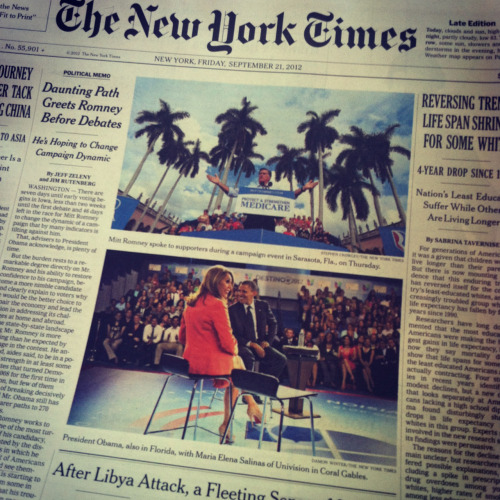 The campaign battle for Florida made the New York Times front page on Friday. Here's the story.