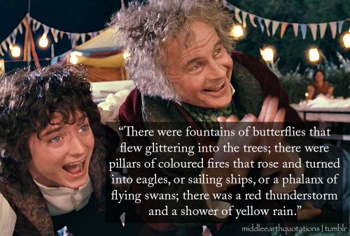 And there was also one last surprise, in honour of Bilbo, and it startled the hobbits exceedingly, as Gandalf intended. The lights went out. A great smoke went up. It shaped itself like a mountain seen in the distance, and began to glow at the summit. It spouted green and scarlet flames. Out flew a red-golden dragon - not life-size, but terribly life-like: fire came from his jaws, his eyes glared down; there was a roar, and he whizzed three times over the heads of the crowd. - The Fellowship of the Ring, Book I, A Long-expected Party Happy Hobbit Day!