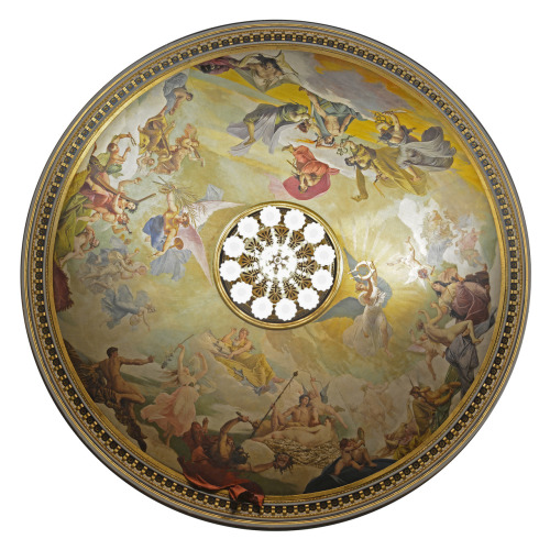 "Peinture de Hippolyte Berteaux, plafond de la salle du théâtre Graslin - Nantes/ Painting by Hippolyte Berteaux, Théâtre Graslin ceiling - Nantes @credits  The Théâtre Graslin is a theatre and opera house in the city of Nantes in France. Created in a new district of the city in the late 18th Century by the local architect Mathurin Crucy and named after the owner of the land, Jean-Louis Graslin. Built in the Italian style, the auditorium holds 822 people. Inaugurated on 23 March 1788 it quickly became a major opera house for the city which nowadays, along with the ""Grand Théâtre d'Angers"", combines with Angers to form a joint Angers-Nantes opera. Unfortunately, it was destroyed by fire 1796, but it was reconstructed to coincide with the 1811 visit by Emperor Napoléon 1st. It was restored again in 2003 and continues to be used for opera and other performances."