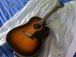 patzw:  Allow me to introduce you to my new love, my beautiful Fender CD-60CE! I don't care if I'll have to practise until my fingers bleed, I WILL learn how to play this guitar. Can't wait to get started!  That's a great guitar to get started!