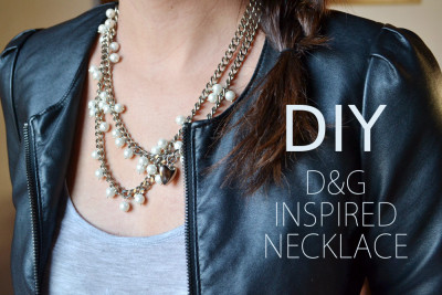truebluemeandyou:  DIY Dolce & Gabbana Inspired Pearl and Chain Necklace Tutorial from Born in '82 here. If you need instructions on how to make a basic loop with a headpin I posted a link to an excellent tutorial from Whatshername Jewelry here.