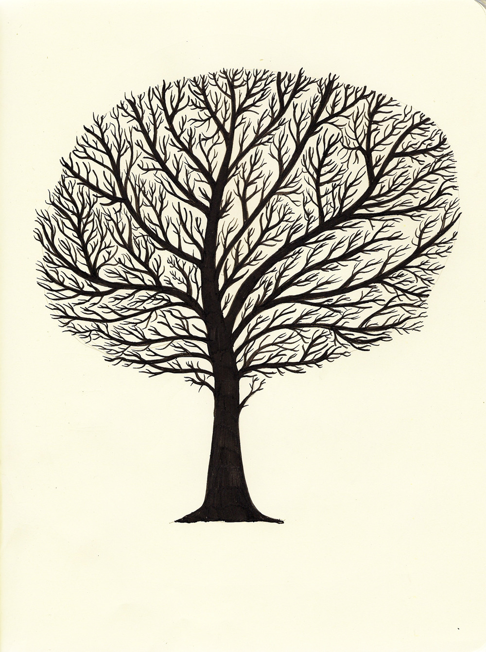 tinkerd:  Hi Tumblr folk…..today I drew this tree. Its part of a bigger piece but I quite like how it looks on its own.  Speak soon you lovely people X
