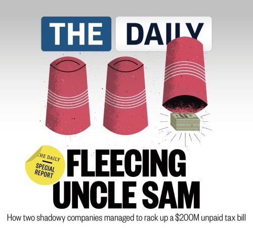 "thedailyfeed:  Ever wonder how a tax shelter really operates? Our reporters went inside the shadowy world of offshore tax havens with two U.S. companies who managed to rack up a $200 million unpaid tax bill:  IRS documents obtained exclusively by The Daily reveal that the two companies, Aspen Parent Corp. and Birch Parent Corp., together owe the federal government at least $202 million. The documents, which list the agency's tax liens against corporations, were provided in response to a Freedom of Information Act request. Today, Birch and Aspen have been dissolved, leaving few footprints on the public record. But when they were operating, both used ""P.O. Box 398, Douglas, British Isles, Isle of Man"" as one of their addresses. And both had the same two British nationals as officers: Douglas Mullins as president and Julian Trinder as secretary. Read more."