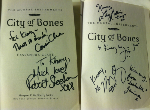 My copy of 'The Mortal Instruments: City of Bones' signed by Cassandra Clare, Jamie Campbell Bower, Lily Collins, Robert Sheehan, Kevin Zegers, and Jemima West. Read about my on-set experience, and win a rare set bracelet: http://pagetopremiere.com/?p=8900