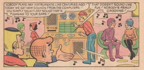 "robsheridan:  From a 1972 Archie comic where he time travels to the future world of 2012.  ""Nobody's really grooving!"""