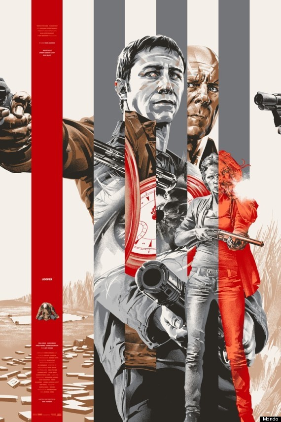 Martin Ansin drops an amazing Looper poster for Mondo. Can't wait for Rian Johnson's new time-travel noir. Check out the brilliant trailer.
