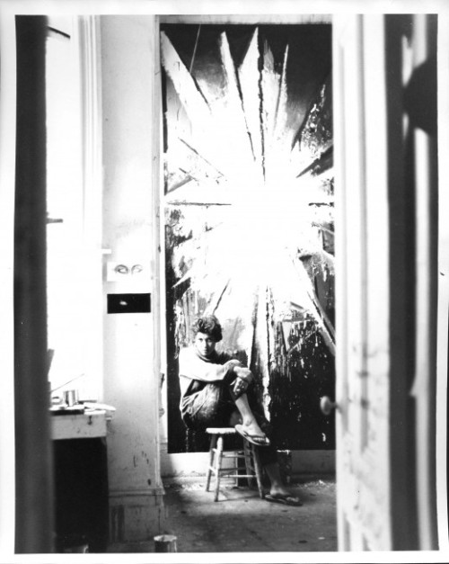 Jay DeFeo - Fillmore Street Studio (1960 - Photo by Jerry Burchard)