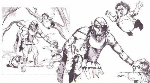 "oldschoolfrp:  Halflings brawling with orc, Jim Holloway, from ""Finish fights faster: A simpler system for unarmed combat"", by Roger E. Moore, Dragon Magazine #83, TSR, March 1984; reprinted in Best of Dragon Magazine vol IV, May 1985. They were called ""hobbits"" in the early editions of D&D, but changed to ""halflings"" in later printings. Have a merry International Hobbit Day, September 22, whether you honor Bilbo and Frodo's birthdays by reading the book, playing a game, having a feast, or simply walking around barefoot.  Yesterday was the 75th anniversary of the first publication of The Hobbit, September 21, 1937.  Reblogging for the jumping halfling with the crazy eyes. O__o"