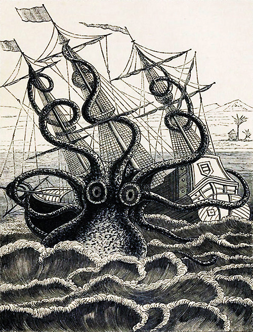 "gyulchatai:  rossumsuniversalrobots:  The Kraken vintagegal:  Pierre Dénys de Montfort's ""Poulpe Colossal"" (1810)   I wonder who this is for ?  ME ME ME ME???????? Or, wait…"