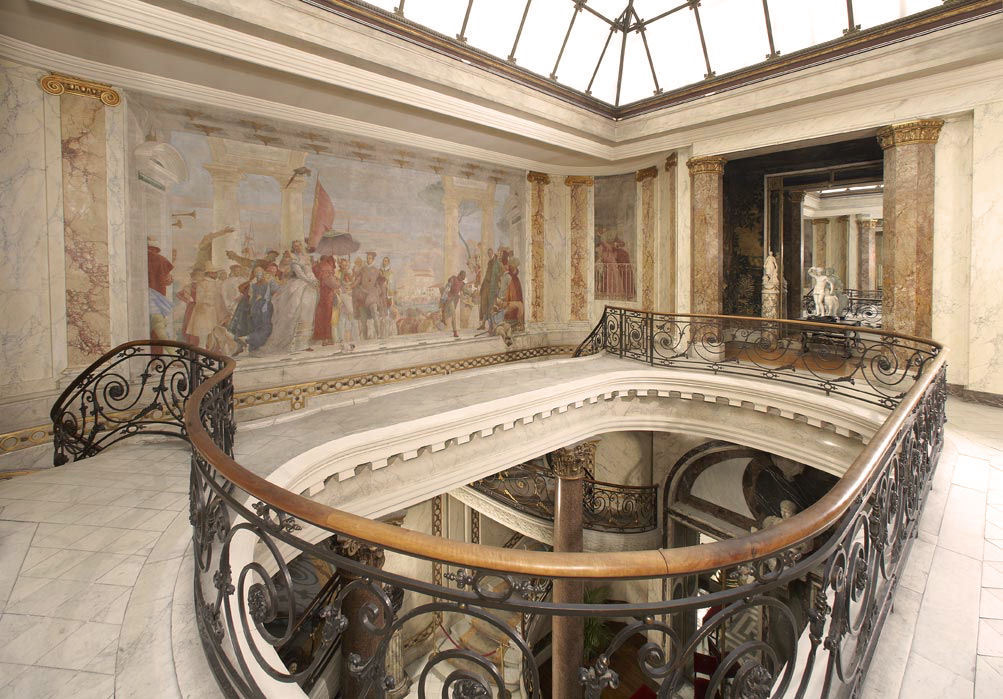 "Tiepolo fresco by the staircase Jacquemart-André Museum on boulevard Haussmann, Paris.  The beautiful ""hôtel particulier""  (private mansion) was home to Nélie Jacquemart and Edouard André, after their marriage in the late 19th century."